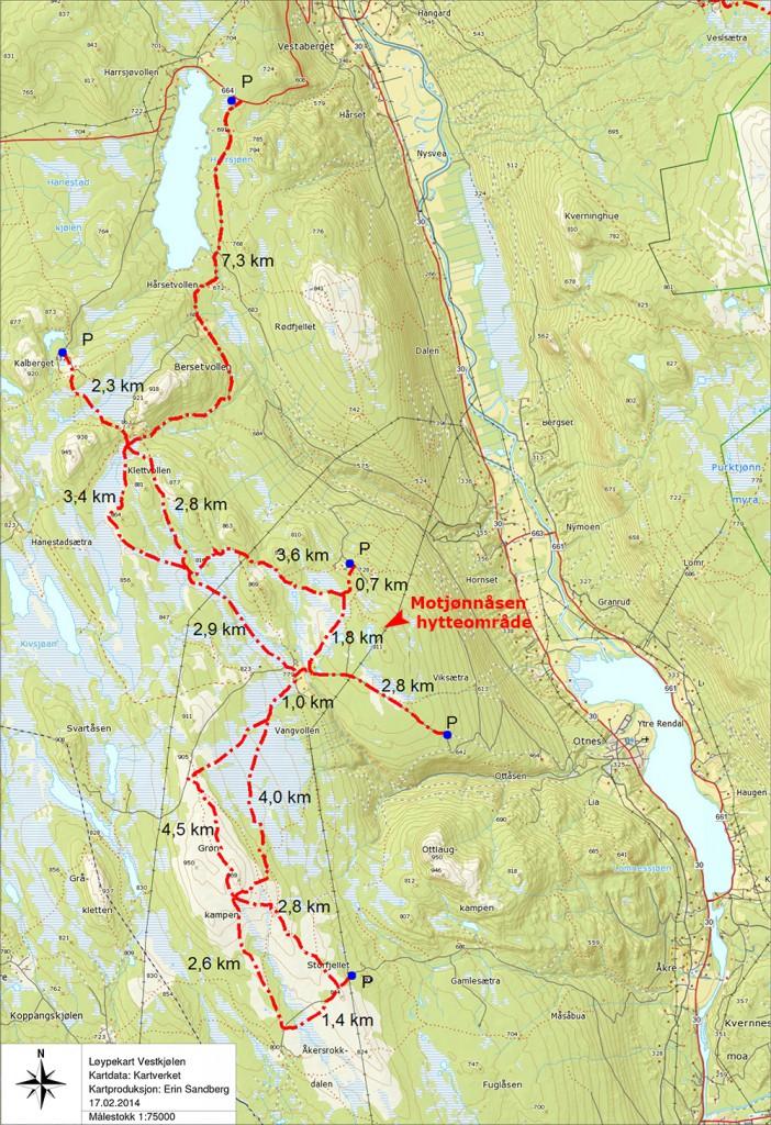 Løypekart Vestkjølen